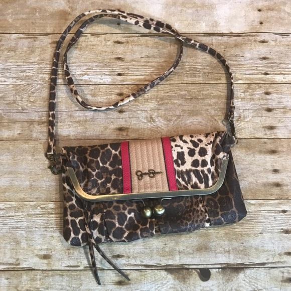 6aaa35955b3b Jessica Simpson Handbags - Jessica Simpson animal print fold over crossbody